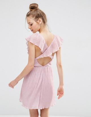 Asos Design ASOS Soft Ruffle Lace Plunge Mini Dress