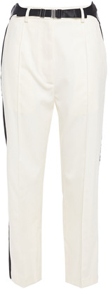 MM6 MAISON MARGIELA Cropped Belted Satin-trimmed Twill Straight-leg Pants