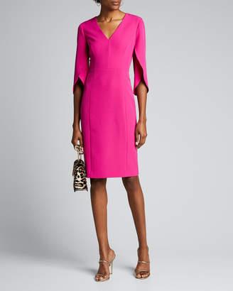 Milly Jana V-Neck Tulip-Sleeve Cady Sheath Dress