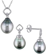 Allura 9-9.5mm Black Tahitian Cultured Pearl and Diamond Earrings and Pendant Necklace Set in 10K White Gold