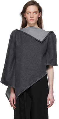 MM6 MAISON MARGIELA Black Denim Poncho Blouse