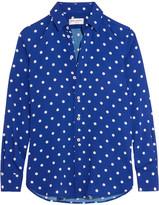 Saint Laurent Polka-dot Crepe De Chine Shirt - Cobalt blue