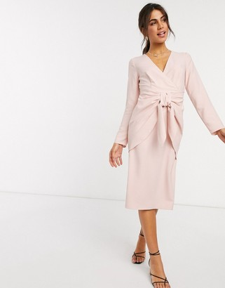 ASOS DESIGN wrap front midi dress with tie waist in dusky pink