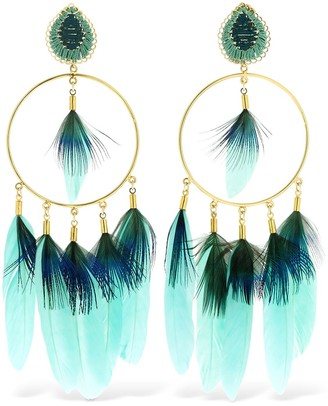 Mercedes Salazar Chaman Hoop Feather Clip-on Earrings
