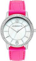 Liz Claiborne Womens Pink Crocodile Silicone Strap Watch