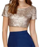 Allonly Women Sexy Casual Sequins Short Sleeve Backless Midriff Crop Top T Shirt