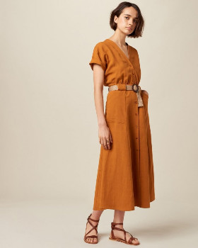 Sessun Safran Cala Raffia Belted Midi Dress - xs