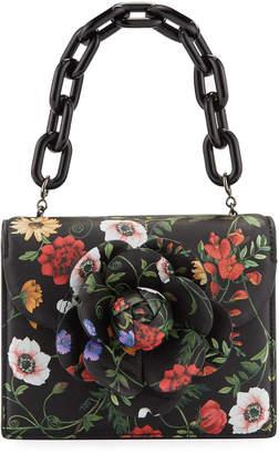 Oscar de la Renta Mini Tro Floral-Print Leather Crossbody Bag with Rose