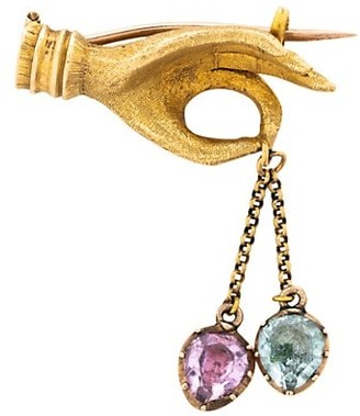 Stephanie Windsor Early Victorian 18K Yellow Gold & Glass Stone Hand Brooch