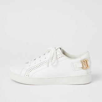 River Island Womens White RI perforated lace-up trainers