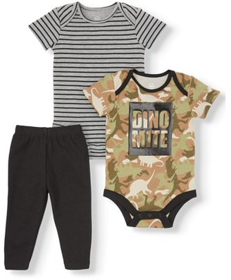 Wonder Nation Baby Boys Graphic Bodysuits and Pants, 3-Piece Outfit Set