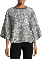 Alberto Makali Animal-Print Embroidered Knit Poncho, Gray