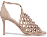 Jimmy Choo Donnie Crystal-embellished Suede Sandals - Beige