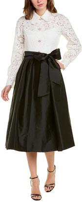 Teri Jon By Rickie Freeman Lace Bodice Midi Dress