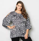 Avenue Leopard Cold Shoulder Sharkbite Top