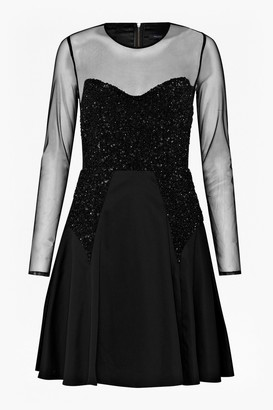 French Connection Moondust Sheer Sequinned Dress