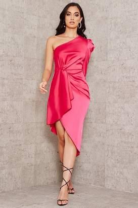 I SAW IT FIRST Hot Pink Satin One Shoulder Twist Asymmetric Hem Dress