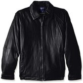 Nautica Men's Tall Lamb Zip-Front Leather Jacket