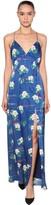 Racil Long Floral Print Viscose Satin Dress