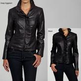 Tahari ASL Women's Leather Ruffle Placket Jacket