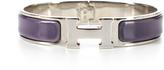 Hermes Linen Purple Enamel Silver Clic Clac PM Bracelet