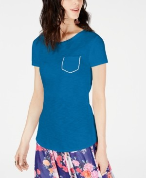 INC International Concepts Inc Plus Size Rhinestone-Pocket T-Shirt, Created for Macy's
