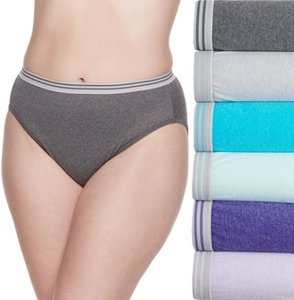 Fruit of the Loom Plus Size Fit for Me 6-pack Heather Hi-Cut Panties 6DHCHKP