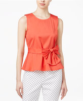 Maison Jules Bow-Detail Peplum Top, Only at Macy's