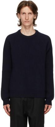 Maison Margiela Navy Wool Rib Knit Sweater