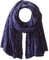 San Diego Hat Company BSS1517 Blanket Scarf with Cable Stitch and Silver Metallic Yarn