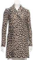Gryphon Leopard Printed Knee-Length Coat