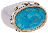 Barse Turquoise & Silvertone Oval Ring