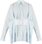 Maison Margiela Point-collar waist-belt cotton shirt