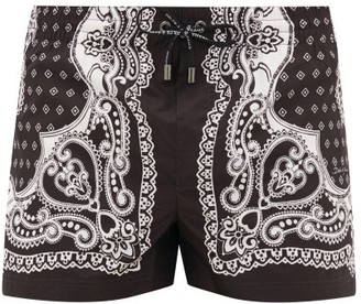 Dolce & Gabbana Bandana-print Swim Shorts - Mens - Black Multi