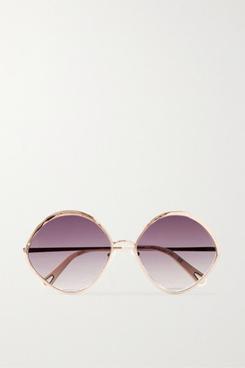 Chloé Dani Round-frame Rose Gold-tone And Acetate Sunglasses - Purple