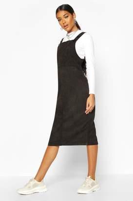 boohoo Cord Midi Pinafore Dress