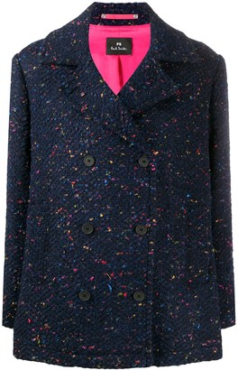 Paul Smith Chunky Knit Long-Sleeve Wool Coat