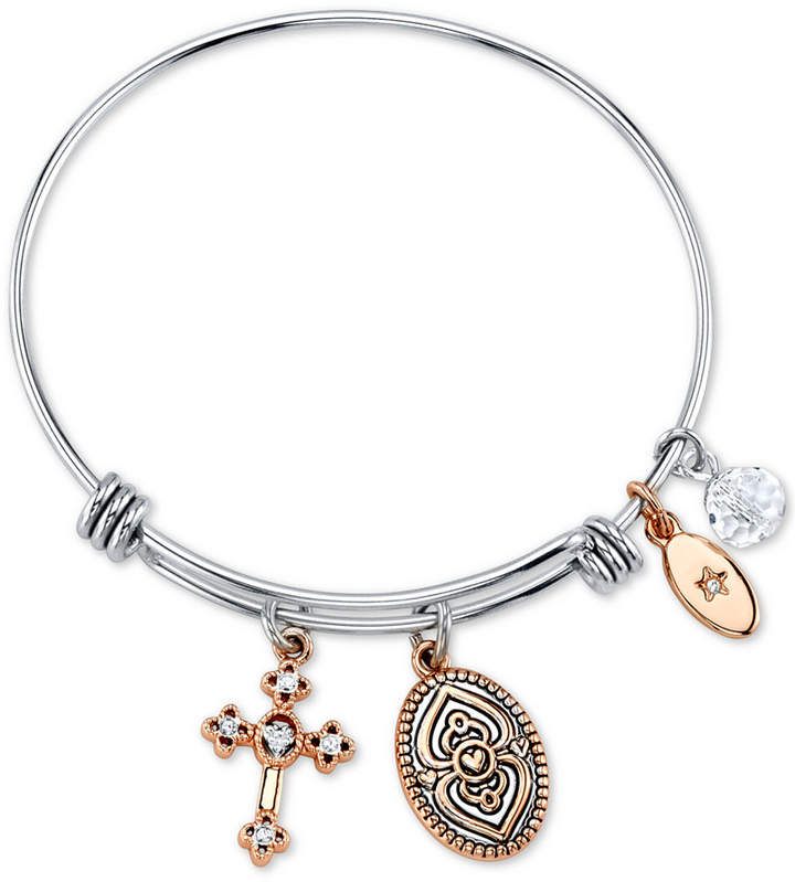 "Unwritten Faith Can Move Mountains"" Adjustable Cross Charm Bangle Bracelet in Rose Gold-Tone & Stainless Steel"