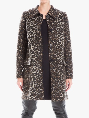 Max Studio Animal Print Coat, Black/Camel