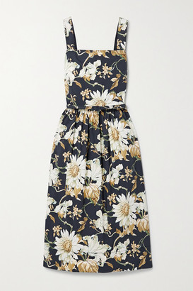 Oscar de la Renta Belted Floral-print Cotton-blend Poplin Midi Dress - Midnight blue