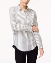Kensie Cotton Striped Tasseled Shirt