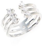 Nadri Silvertone Crystal-Accented Ring
