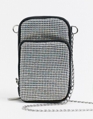 Skinnydip phone pouch cross body bag in diamante