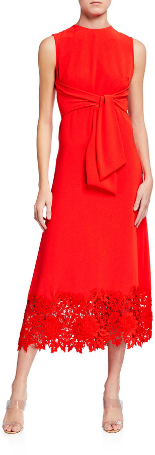Lela Rose Crepe Tie-Front Lace Hem Midi Dress