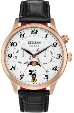 Citizen Disney by Eco-Drive Men's Classic Black Leather Strap Watch 43mm
