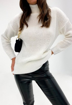 Missguided Tall White Turtle Neck Sweater Dress
