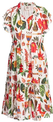Figue Global Caravan Marguerita Tropical Print Dress