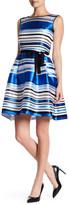 Ellen Tracy Stripe Organza Fit & Flare Dress