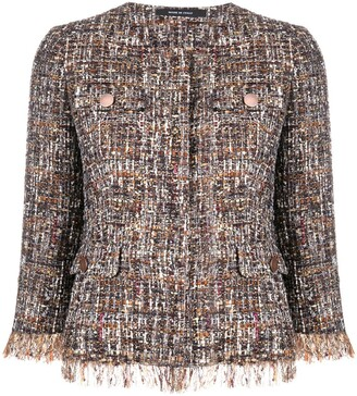 Tagliatore Embroidered Fringed Jacket