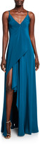 Cushnie Silk Deep-V Maxi Dress